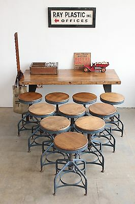 ONE (x1) Vintage Industrial Toledo Uhl Draftsman Stool Machine Age Chair 1940s