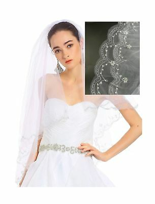 Passat Ivory Fingertip Length Two-Tier Veil with Scallop Crystals Edge Wedding B