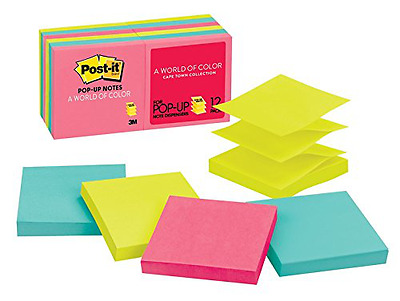 Post-it Pop-up Notes, 3 in x 3 in, Cape Town Collection, 12 Pads/Pack, 100 Sheet
