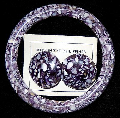 Embedded Abalone Shell Lucite Bangle Bracelet Earrings Purple VTG Mid Century