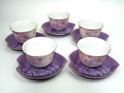 """NEW"" Mint in Box Floral Porcelain Tea Cup Set of 5 Cups and saucersFrom Japan"