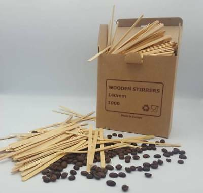 "NATURAL WOODEN PAPER CUPS STIRRERS 1000 ! 5.5""140mm STICKS FOR HOT DRINKS KRAFT"