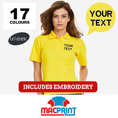 Personalised Embroidered Ladies Polo Shirts Uneek UC106 Workwear, Customised Top