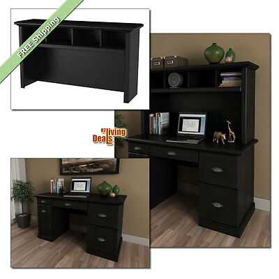 Computer Desk with Storage Home Office Furniture Wood Desks and Hutch, Black