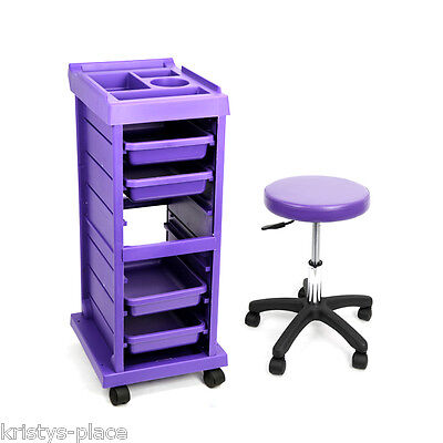 GLAMMAR HAIR SALON TROLLEY with 4 trays & STOOL COMBO PURPLE NEW