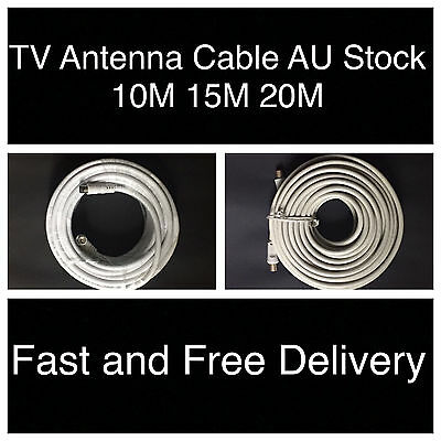 10m 15m 20m TV Antenna Cable PAL Male to Male Aerial Coaxial Video Lead + 2 Adap