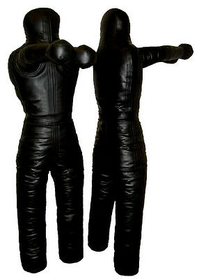Boxing Grappling Dummy Training Dummies, Synthetic Leather 180cm / 6 feet Black