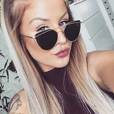 Large Oversized Cat Eye Sunglasses Metal Frame Flat Smoked Lens Women Fashion