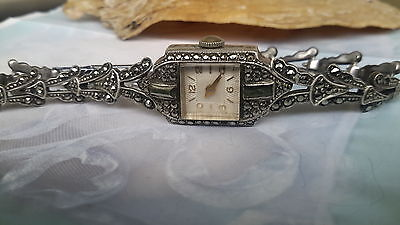 Vintage 1940's square face sterling silver marcasite watch