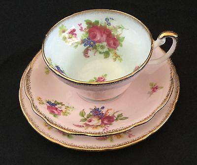 Foley Bone China - Pink; Cup, Saucer and Plate