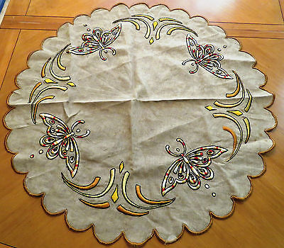 """Antique Arts and Crafts Tablecloth Embroidered Round 32"""" Table Cover Centerpiece"""