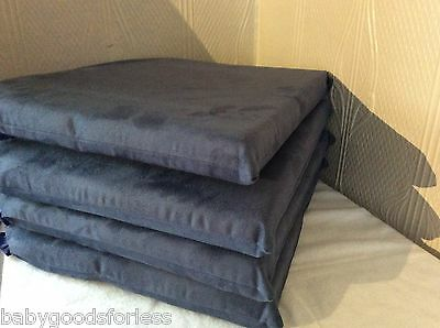 Seat Pads Dining Room Kitchen Garden Chair Set Of 4 Cushions Blue Suede New