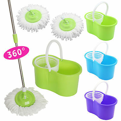 360° Floor Magic Spin Mop Bucket Set Microfiber Rotating With 2 Dry Heads