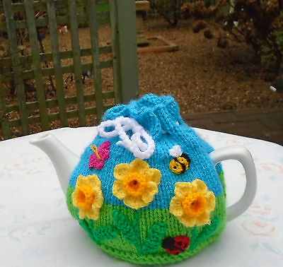 Hand Knitted Flower Garden Tea Cosy Daffodils And Bee For A Medium Teapot