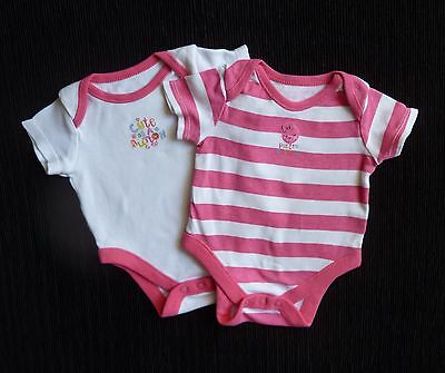 Baby clothes GIRL n 0-1m 2 bright pink/white stripe/cute as button soft bodysuit