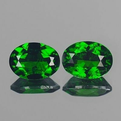 2.58cts 6x8mm Natural Loose Gemstones Oval Pair Chrome Green Diopside Free Ship