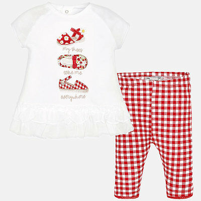 Mayoral Infants Girls cropped trouser and t-shirt set in Red