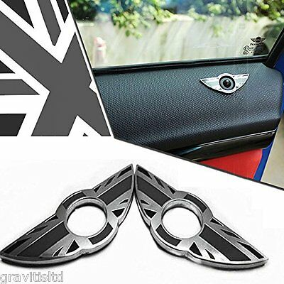2x Black Union Jack Style Door Lock Knobs Wing Emblem Rings For MINI Cooper