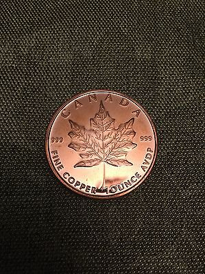 Canada Round Copper Maple Leaf One Troy Ounce Pure Copper Lowest Price