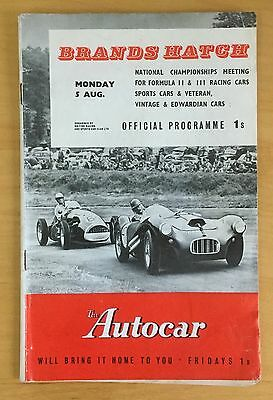 ORIGINAL Offical Programme Motor Racing at Brands Hatch August 5th 1957