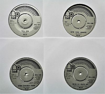 HELLO VINYL 45 LOT Junkshop Glam Rock Powerpop Bubblegum 1970's UK BELL RECORDS