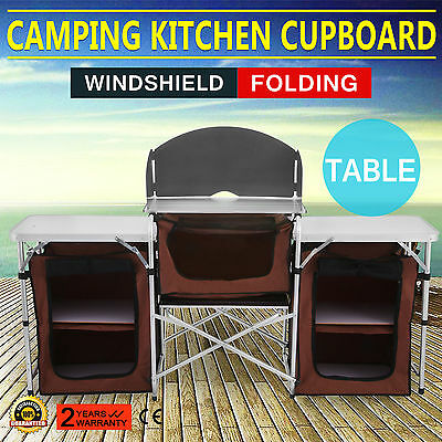 6Ft Fold-Up Camping Kitchen Cabinet Portable Table Food Storage Top
