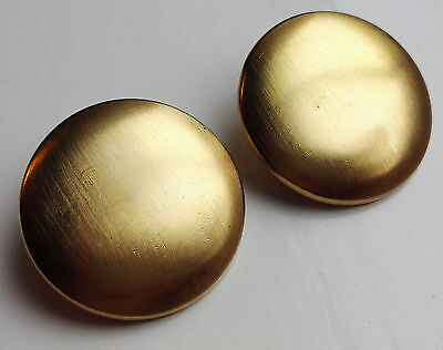 VINTAGE 1970s ELEGANT LARGE GOLD-TONE SMOOTH BUTTON DISC CLIP ON EARRINGS