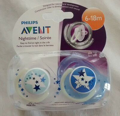 Philips Avent Nighttime Pacifier, 2 Pack, 6-18 Months, Glow In The Dark,Soothers