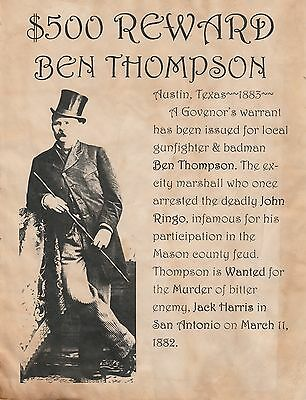 Ben Thompson~(I Combine Shipping)~Wanted,old West,poster,outlaw