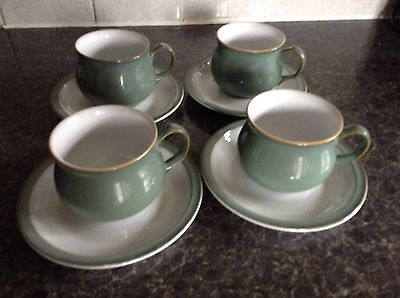 Denby regency green cups and saucers x 4