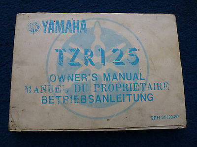 Yamaha Tzr125 Owners Manual 2Rh-28199-80 1987