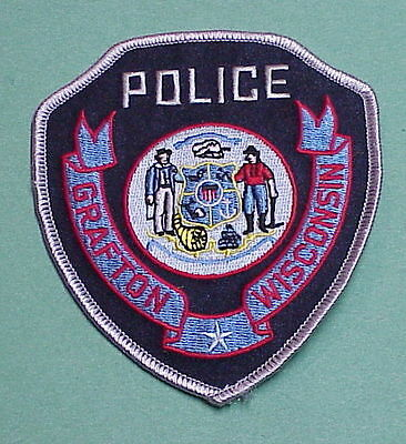 Grafton  Wisconsin  Wi  ( Silver Border )   Police Patch   Free Shipping!!!