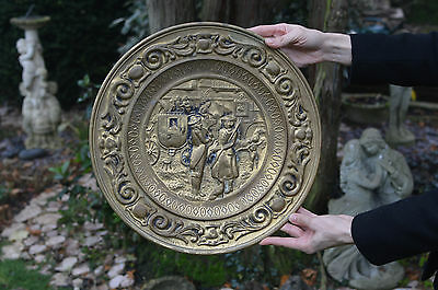 Large Vintage Brass Wall Hanging Dish Plate