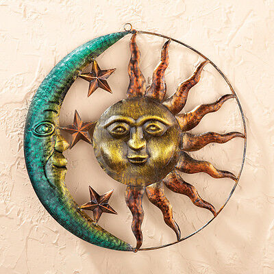 Celestial Iron Sun and Moon Sculpture Home Garden Wall Art