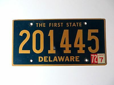 1972 Delaware License Plate #201445 The First State Passenger Car Chevy Man Cave