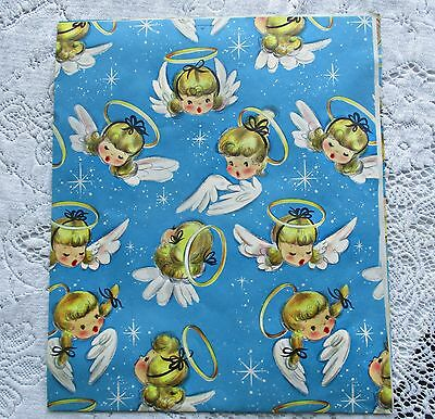 Vintage New Old Stock~50's Hallmark Angel Babies~Halos~Christmas~Wrapping Paper