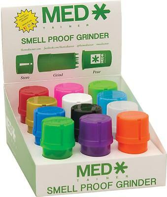New 12Ct Medtainer Storage Container W/ Built In Grinder Smell Proof Asst Colors