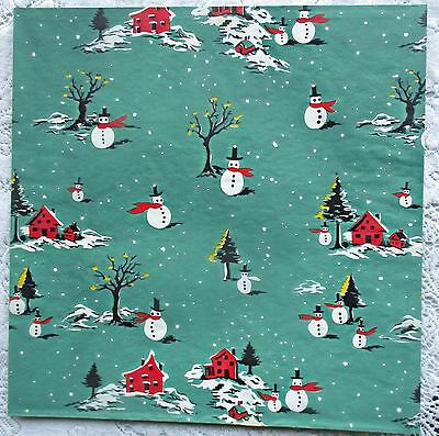 Vintage New Old Stock~50's~Snowmen~Family~Christmas Tree~Star~Wrapping Paper