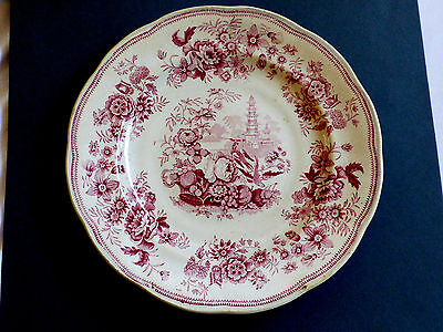 """VTG Red Transfer Pagoda Enoch Wood & Sons E.W.&S Stoneware lunch Plate 8.5"""""""