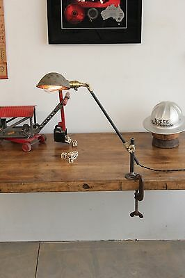 Vintage Industrial OC White Lamp Light Wall Table Bench Mount Shade Factory
