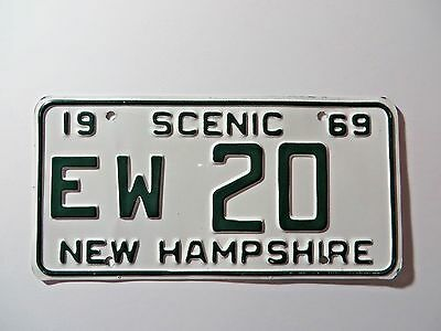 1969 Cheshire County New Hampshire License Plate #EW-20 Passenger Chevy Man Cave