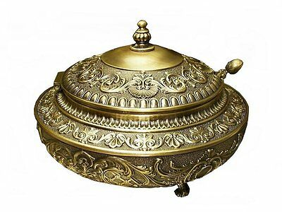 Brass Plate Sugar Bowl Caviar Honey Ornate Solid Vintage  Gift  Free Engraving