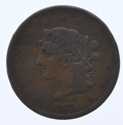 1839 Braided Hair LARGE One Cent Coin OLD US Penny Great Shape FREE SHIPPING