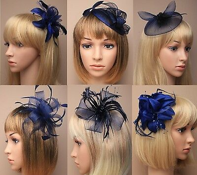Ascot/Races Navy Blue Flower/Hat Hair Fascinator Clip/Comb/Alice/Headband