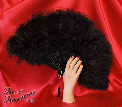 Gothic Burlesque ALL BLACK MARABOU FEATHER FOLDING FAN Halloween Costume F14