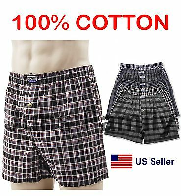 Lot 3 6 New PREMIUM 100% Cotton Mens Boxer Plaid Trunk Shorts Briefs Underwear