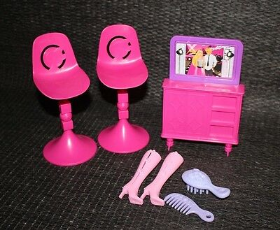 Barbie Furniture Lot Chairs Couch TV Doll Afghan Dog Accessories