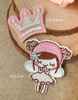 Wholesale lot  12pcs Pink angel crown Iron on sewin patch DIY sewing craft girl