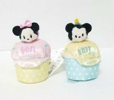 Disney Parks Mickey & Minnie Mouse Cupcake 2017 Tsum Tsum Blue Pink Polka Dots