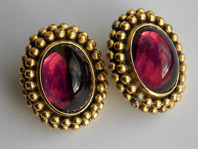 1980s YSL gorgeous designer clip earrings with gripoix poured glass, signed